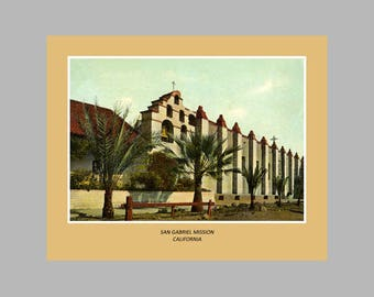 Postcard Wall Art - San Gabriel Mission, California - 8x10 Poster Print - Also available in 11x14 and 16x20.  Ready to Frame.