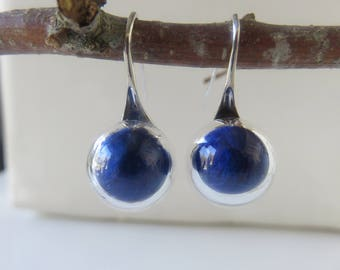 "Earrings ""Myra"": glass globes filled with blue feathers"
