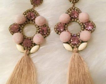 Belly Dance Cotton Tassel Pom Pom Beaded Earrings, Bohemian Earrings, Summer Earrings, Gypsy Earrings, Elegant Large Earrings, Ethnic Style