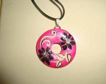 neon pink donus pendant