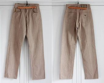 Armani Jeans High Waisted Beige Denim Men Women Vintage Pants Button Fly Jeans Size W28 L31