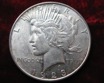 1923-D U.S. Peace Silver Dollar, ALMOST UNCIRCULATED Original Coin! Genuine.
