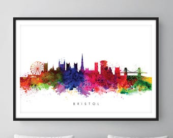 Bristol Skyline, Bristol England Cityscape Art Print, Wall Art, Watercolor, Watercolour Art Decor