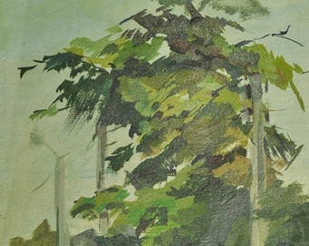 Art Original Oil Painting Country Landscape Tree Green Impressionist Tree landscape art wall Gift home decor