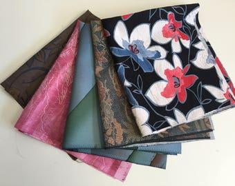 Vintage Silk Kimono Fabric Remnat, 5 pc