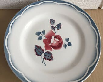 6 plates flat DIGOIN SARREGUEMINES plates, plate decoration of flowers, table decorations French plates