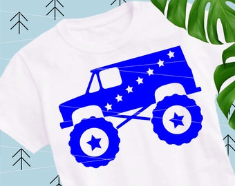 Monster Truck svg 4th of july svg Big Truck svg files for cricut svg files for silhouette vector cut file png dxf eps lfvs