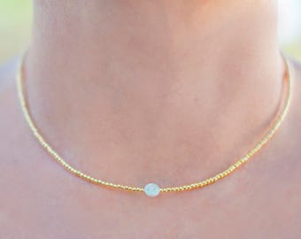 Gold Bead necklace with Opal