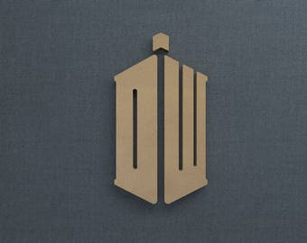 Dr Who Logo, Wood Cutout, Unfinished Sign