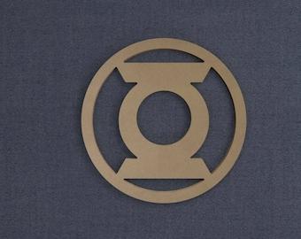 Green Lantern Symbol, Wood Cutout, Unfinished Sign