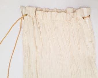 Cotton skirt with paper bag waist and angled hem