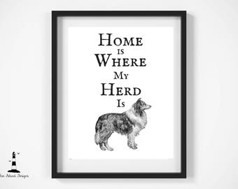 Home is Where My Herd is Print, Collie Wall Art, Collie Breed Print, Collie Decor, Printable Art, Herding Wall Art, Collie, Collie Printable