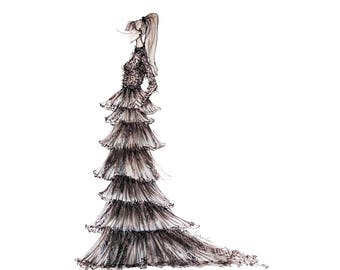 Layers and Layers of Tulle Black and White Fashion Print