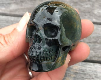 Blue and Brown Tigers Eye Carved Realistic Skull - Free Shipping