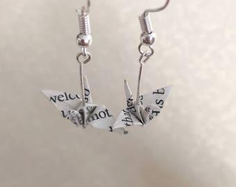 Origami Crane Jewelry - Crane Earrings - Paper Earrings Jewelry - Upcycled Book Earrings-Anniversary Gift-Book Paper