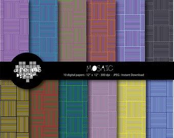 COD12-70% OFF SALE- Mosaic digital paper-Colors mosaic-Blue mosaic- Colors paper- Red Mosaic- Green Mosaic-Paper digital-Scrapbook printable