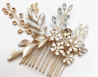 Gold Hair Comb, Wedding Hair Comb, Bridal Hairpiece, Bridal Hair Comb, Gold Hairpiece, Gold Wedding Comb, Flower Hair Comb