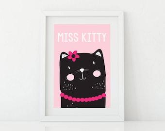 Cat Print, Kids Wall Art, Wall Art Printable, Nursery, Room Decor,