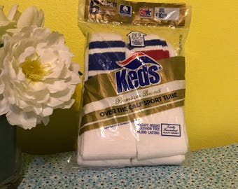 Vintage 1980s Athletic Tube Socks with Stripe New in Package