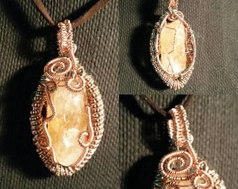 Raw Citrine Wire Wrapped Pendant!