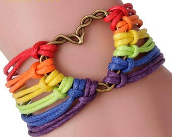 Rainbow Heart Handmade Bracelet