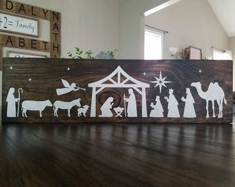 Nativity Scene Wood Sign