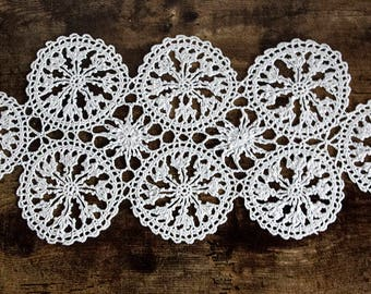 The best Table runner Large doily  White crocheted doilies White lace doily Elegant decor Large crochet doily Crochet table Wedding decor