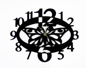 Fashion Art wall clock, Modern wall clock, Butterfly wall clock with numbers
