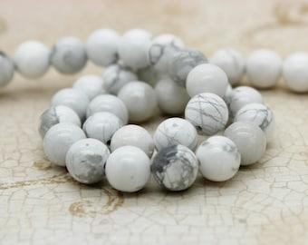 Howlite Smooth Round Natural Gemstone Beads (4mm 6mm 8mm 10mm)