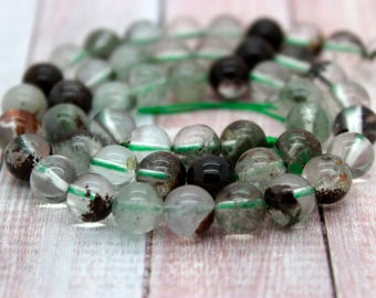 Green Phantom Round Quartz Clear Gemstone Beads (4mm 6mm 8mm 10mm)