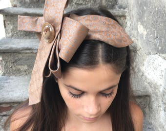 Silk satin headband made with vintage tie and antique button