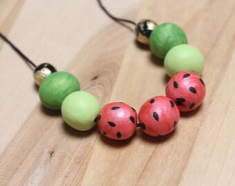 Watermelon necklace, chunky bead jewelry handmade with clay