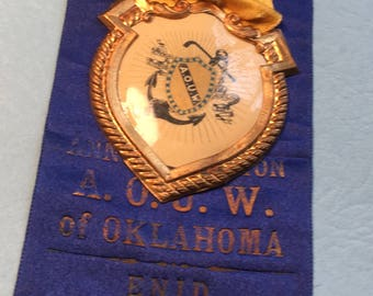 Vintage 10th Annual Session A.O.U.W. of OK Convention,Feb. 4th,1908  Ribbon.  2 1/2in x in Gr2 1/2eat Condition<>BCEB-208