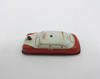 Argo Vintage Toy Tin Friction Car 1950s Japan Red and White 1 of 2 Cars