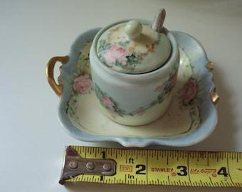 Vintage china, salt cellar, spoon, saucer
