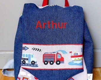 Little back pack personalized for kids to nanny as her first school... theme vehicles.