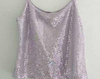 90's Lilac Sequin Crop Top