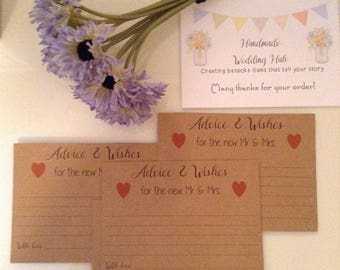 Wedding Advice Cards, Love and Best Wishes Cards, Wedding Guest Book, Guest Advice Cards, Marriage Advice, Guest Book, Well Wishes Cards