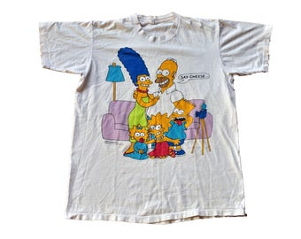 "Vintage 1989 Simpsons ""Family Portrait"" Tee // XL // Made in USA // Homer // Bart // Lisa // Marge // Maggie //"