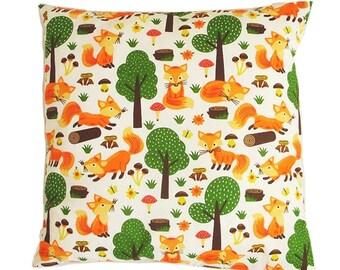 Fox cushion, Fox pillow case, fox gift, fox print, fox pillowcase, fox decor, fox baby shower, fox theme, fox birthday baby fox