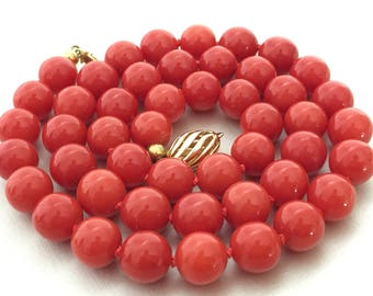 9 mm very fine natural red coral beads coral necklace 14k