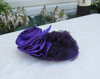 Purple satin fascinator