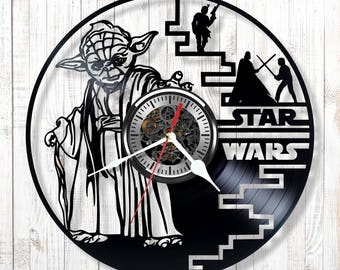 Silent wall clock Star Wars made out of real vinyl record