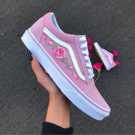 Custom Rose Applique Vans Vans Roses Womens Sneakers