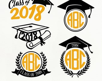 Graduation SVG Files, Graduation 2018 dxf, png, eps for Silhouette Studio & Cricut, Cut File