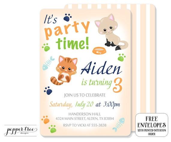 Boy kitten birthday invitation cat birthday party invitation il570xn filmwisefo