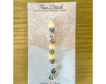 Colourful Cat Scissor Fob/Planner Charm
