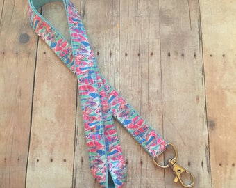 Lilly Pulitzer Lanyard, Out To Sea, Badge Clip, ID holder, Lanyards, Badge Holder