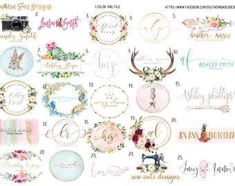 Watercolor logo, gold logo, pink logo, classy logo, photography logo, watermark, boutique logo, boutique watermark, multicolor watercolor