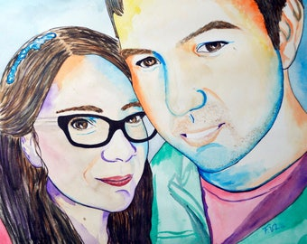 Custom portrait. 2 people 24 x 34 cm